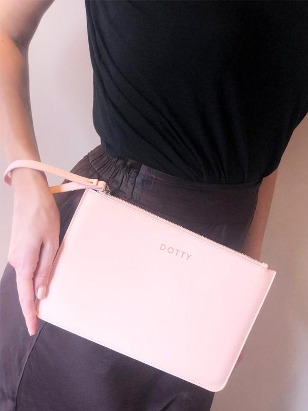 Dotty Pink Clutch Bag